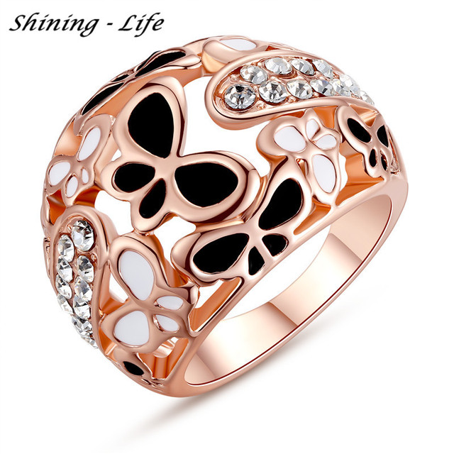 Luxury Brand Big Rings For Women Rose Gold Plated Black&White Enamel Butterfly Ring Micro Pave Austrian Crystal Anillos
