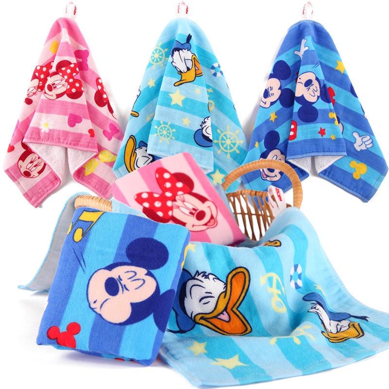 Disney Baby FaceTowel 25x50cm Cotton Children Towels Soft Cartoon Handkerchief Bath Towel For Newborns fashionable color block bus pattern soft cotton hooded towels