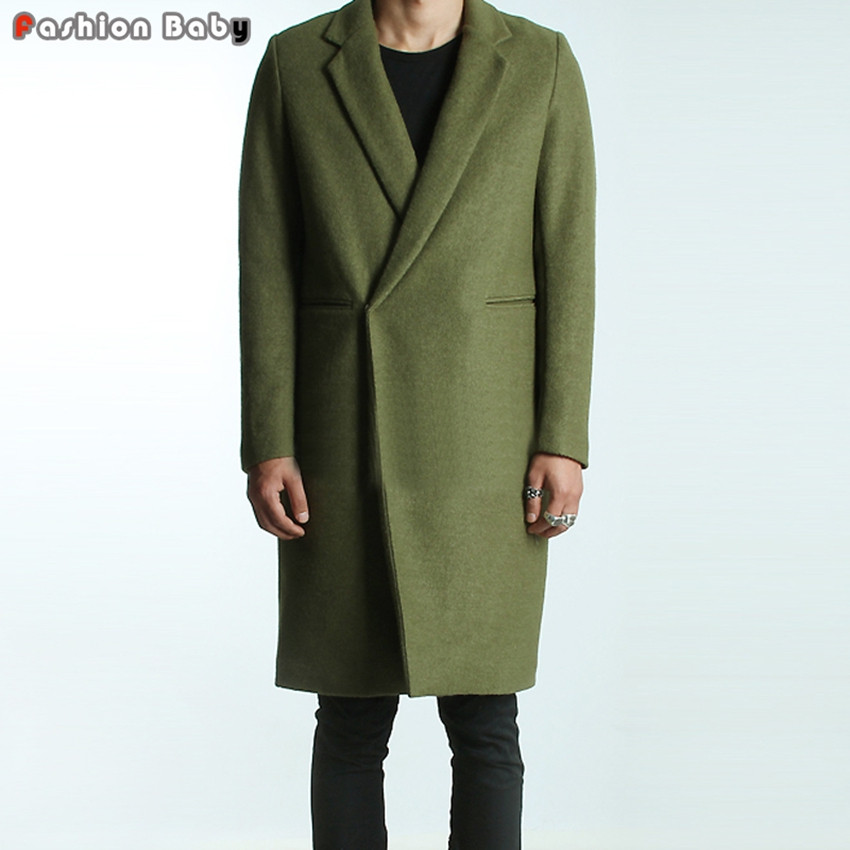 Men-s-Green-Woolen-Trench-Coats-Slim-Fit-Brand-Fashion-British-Style-Windbreaker-Overcoat-Autumn-Winter 2