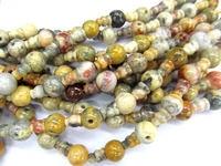 high quality 10 SETS Crazy yellow agate 3 hole beads,T-Beads Set, Guru Beads, Prayer Beads, Mala Making Cones Beads, T hole set