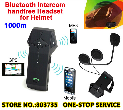 (1set)1000 Meters FM Radio Bluetooth Intercom Waterproof Motorcycle&Ski Helmet Headsets Hand Phone Support Brand NFC COLO