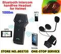 (1set)1000 Meters FM Radio Bluetooth Intercom Waterproof Motorcycle&Ski Helmet Headsets Hand Phone Support Brand NFC COLO