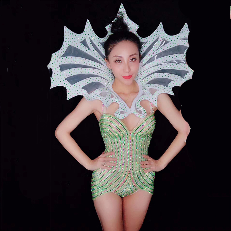 Jazz Costume Sexy Outfits For Woman Green Rhinestones Sleeveless Bodysuit Stage Show Wear Singer Gogo Jumpsuit Clothing DT524