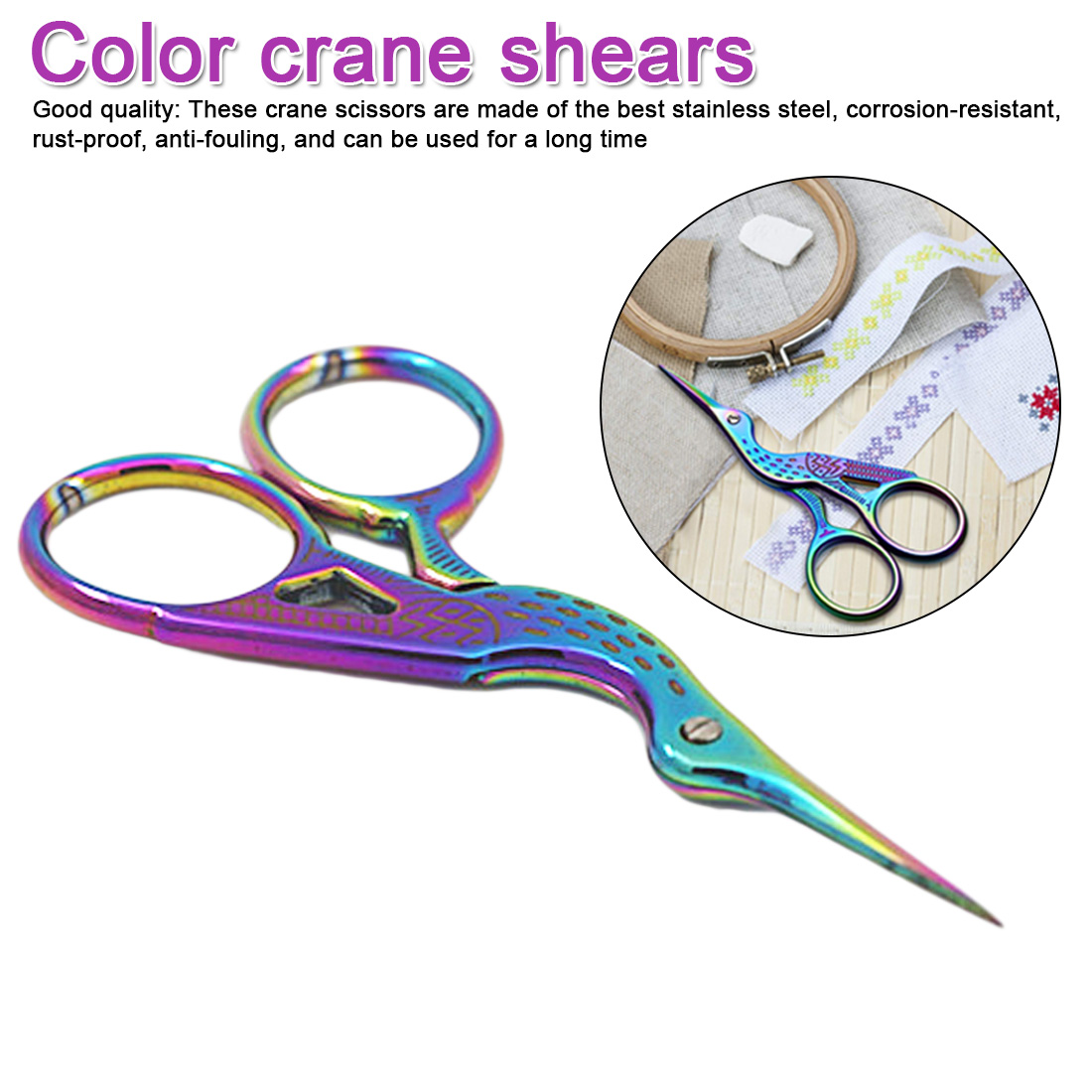 115mm Stainless Steel Classic Crane Bird Scissors Durable Manicure Cutter Remover Scissor Nail Cuticle Styling Tool
