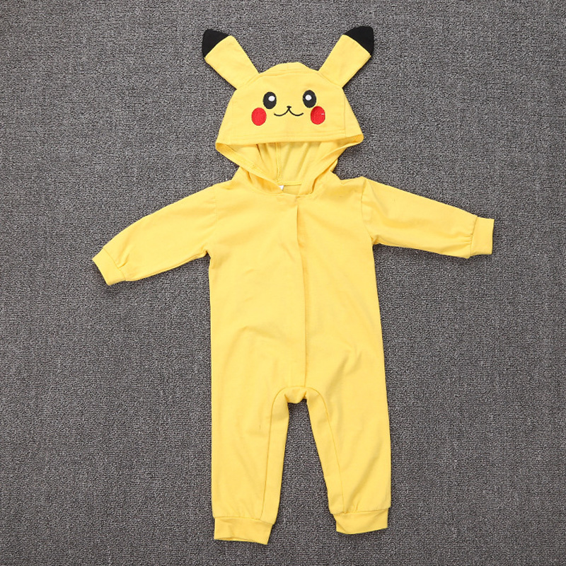 Spring Long Sleeve Baby Romper Jumpsuit Embroidery Hooded Pikachu Outfit  Newborn Baby Carnival Cosplay Costume-in Rompers from Mother   Kids on ... dcef4c72d815