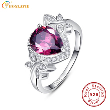 Exquisite 4.1Ct Pear Cut Water Drop Garnet Ring Butterfly Decoration Sterling Silver 925 Fashion Rings Fine Jewelry Accessories