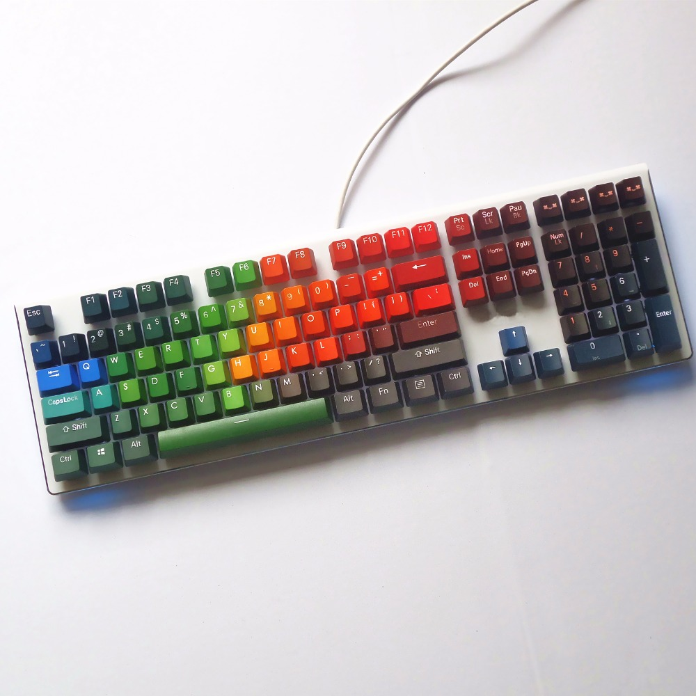 Paranoid color 108 Keys Double-shot Backlight PBT keycap OEM profile cherry MX switches mechanical keycap Only sell keycaps