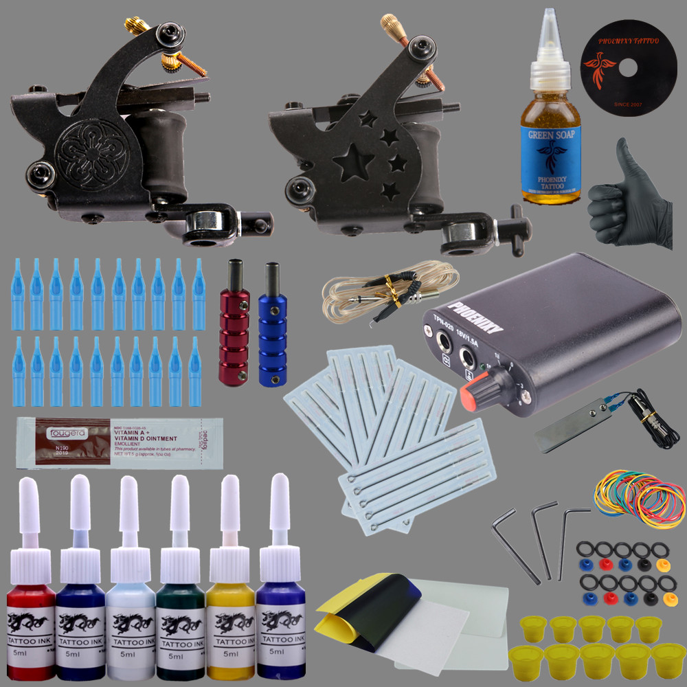 Complete Tattoo kits 1 Gun Tattoo Machine Power Supply 4 Color Ink Sets Disposable Needle Grip Tips 100pcs disposable tattoo needle and tube 3 4 grip with tip