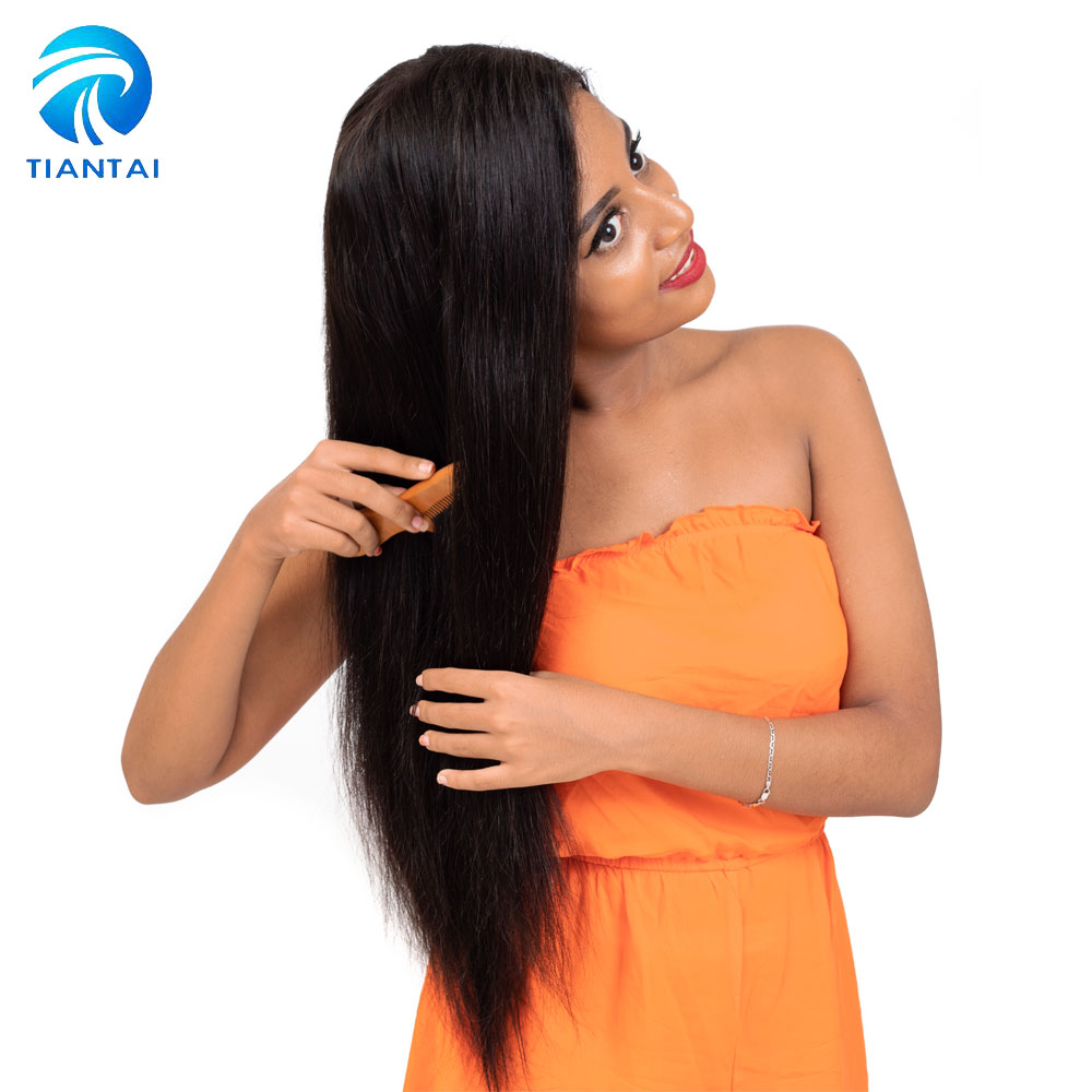 Hair Extensions & Wigs Straight Lace Front Wig Human Hair Wigs For Black Women Pre Plucked 4 Inch Remy Hair Lace Wigs With Baby Hair Full End Ms.ilsa