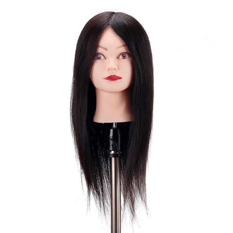 60 см 70% настоящие человеческие черные волосы головы Учебные головы-манекены косметологические образовательные волосы стильный манекен головы