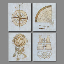 4 Pcs font b Science b font decoration compass microscope Wall art picture Divider globe Canvas
