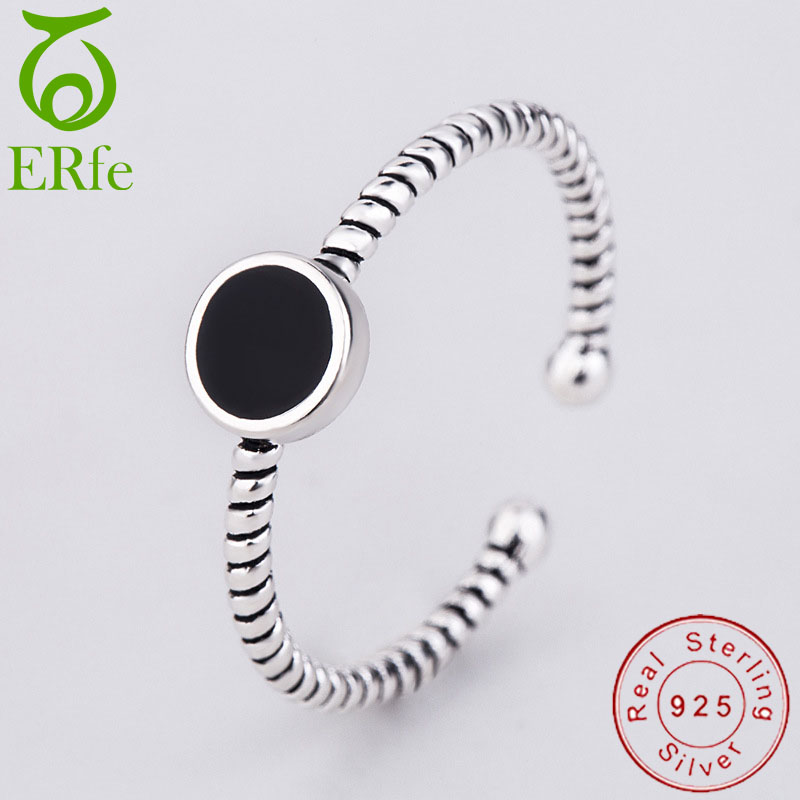 Ladies Thin 925 Sterling Silver Ring Black Round Circular Intertwined Stackable Midi Rings Alianca Minimalist Jewlery SR004 image