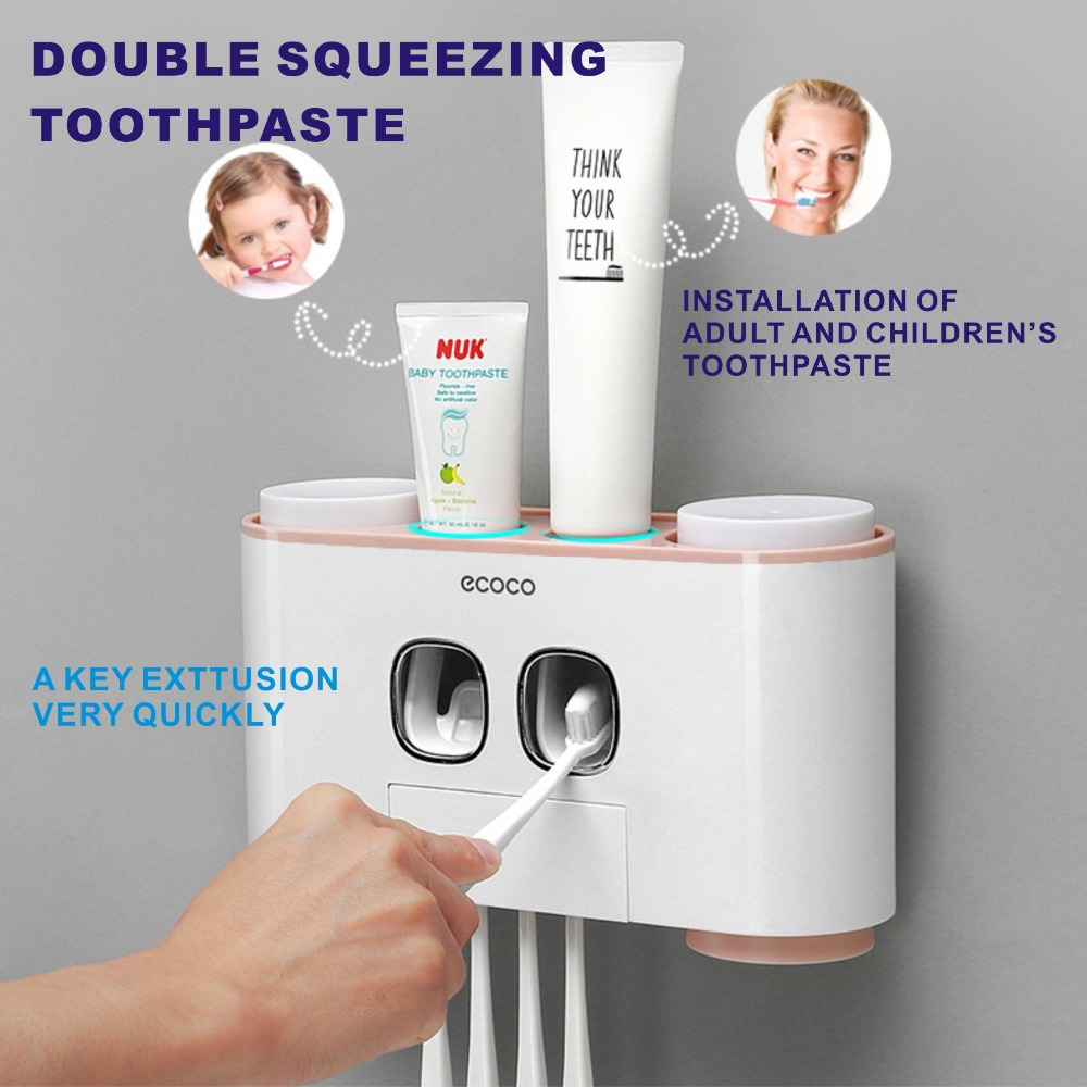 5 Racks Dust proof Toothbrush Holder with Cups Toothpaste Dispenser Automatic Toothpaste Squeezer Bathroom Accessories|Toiletry Kits| |  - title=