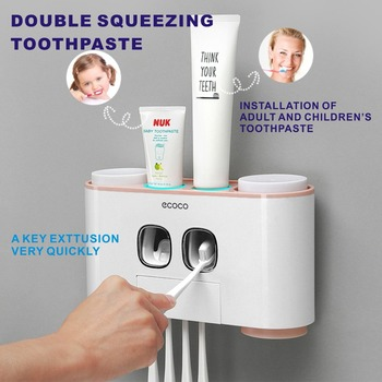 5 Racks Dust-proof Toothbrush Holder with Cups Toothpaste Dispenser Automatic Toothpaste Squeezer Bathroom Accessories 3pcs bathroom accessories toothbrush holder ceramic green plant couple toothpaste cup holder with bamboo tray nordic cups set