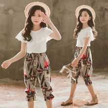 Summer Girls Clothes Sets 2019 Girls Boutique Outfits Chiffon Short Sleeve Top+Short 2Pcs Children Clothing 4 6 8 10 12 13 Years black white stripes flamingos short sleeves top solid pink ruffle short summer outfit girls boutique clothing with accessories