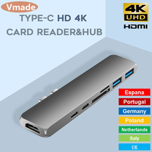 USB 3.1 Type-C Hub To HDMI Adapter 4K Thunderbolt 2 USB C Hub with Hub 3.0 TF SD Reader Slot PD Charger for MacBook Pro/Air 2018