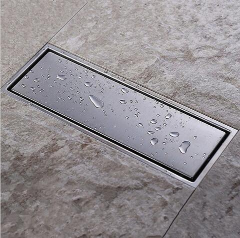 New Arrivals 304 solid stainless steel 300 x 110 mm square anti-odor floor drain bathroom invisible shower drain waste drainer  anti odor bathtub shower drainer floor strainer 10x10cm 304 stainless steel square invisible bathroom floor drain waste grate