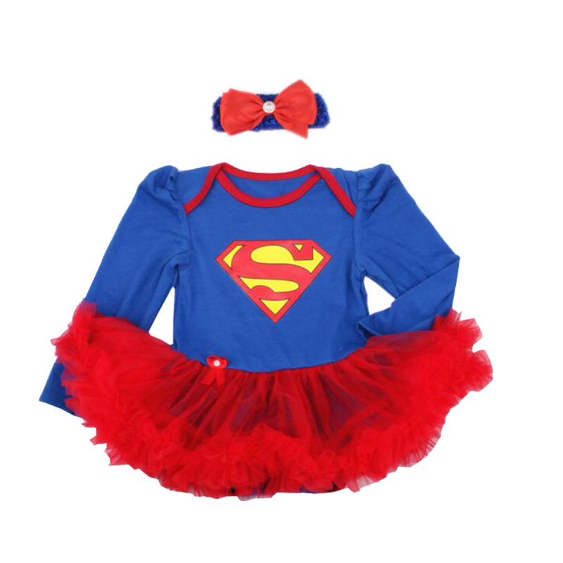 Newborn Baby Girl Clothes Batman Superman Girl Rompers Dress Infant Birthday Party Outfit Clothing Bebes First Romper Costumes