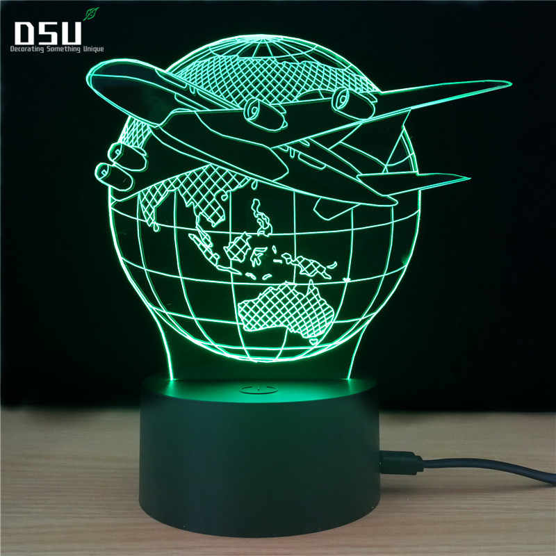 Fly the World Earth Globe Airplane 3D LED Lamp Art Sculpture Lights in Colors Optical Illusion Lamp with Touch Button