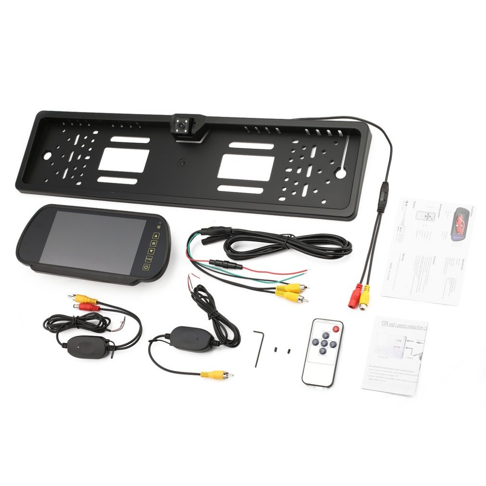 EU Car Licence Plate Rearview Camera with LED Lights + 7 Inch Rearview Monitor + Wireless Transmitter & Receiver