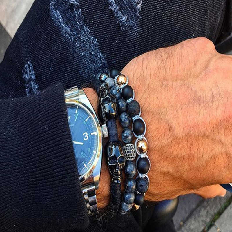 Mcllroy beaded bracelets men round natural stone beads bracelet charms bracelets & bangles trendy couple jewelry erkek bileklik