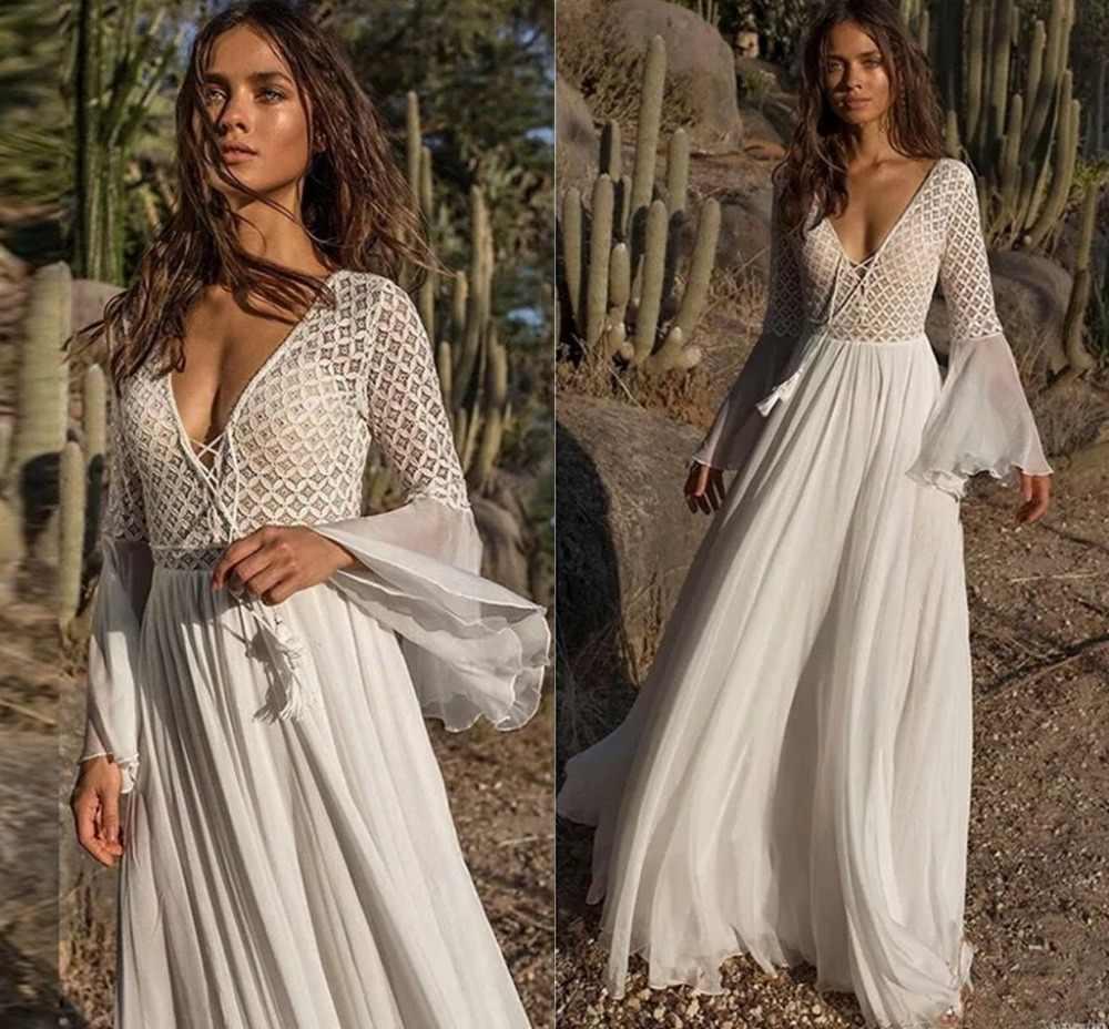 2019 חדש תחרה שיפון V-צוואר Boho זול חתונה שמלות קיץ חוף כלה שמלת בוהמי חתונת כותנות robe de mariage