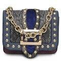 2017 Serpentina Flap Bag Mujeres Cubren los Bolsos Famosos de la Marca Rivet Cadenas Señoras Del Diseño Bolsos de Hombro Bolsos Crossbody De Femme