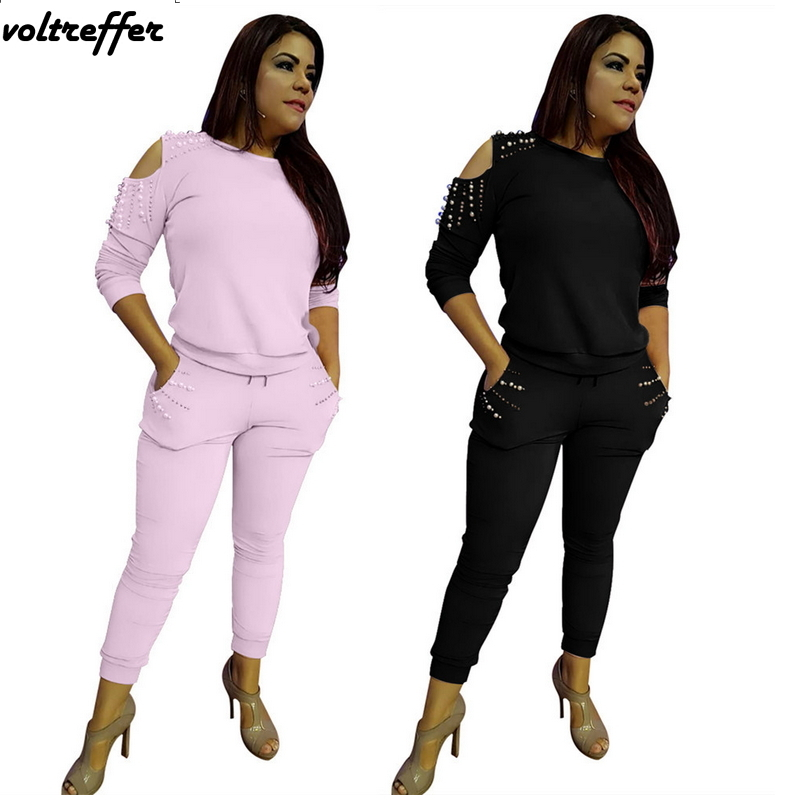 2018 Fall Off Shoulder Two Piece Set Women Pearl Beaded Sweat Suit Set Solid Casual Outfits Tracksuit Moleton Feminino Matching
