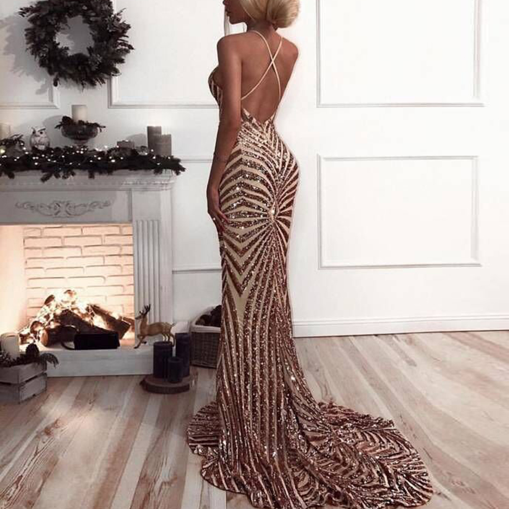 8597cb6d68 Missord 2019 Sexy v neck Elegant Striped Backless Women Dresses Sequin  Bodycon Maxi Party Reflective Dress Vestidos FT8928