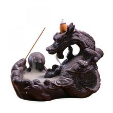 Dragon Shape Waterfall Backflow Incense Burner Classical Handmade Porcelain Ceramic Holder Buddhism Home Office Decor
