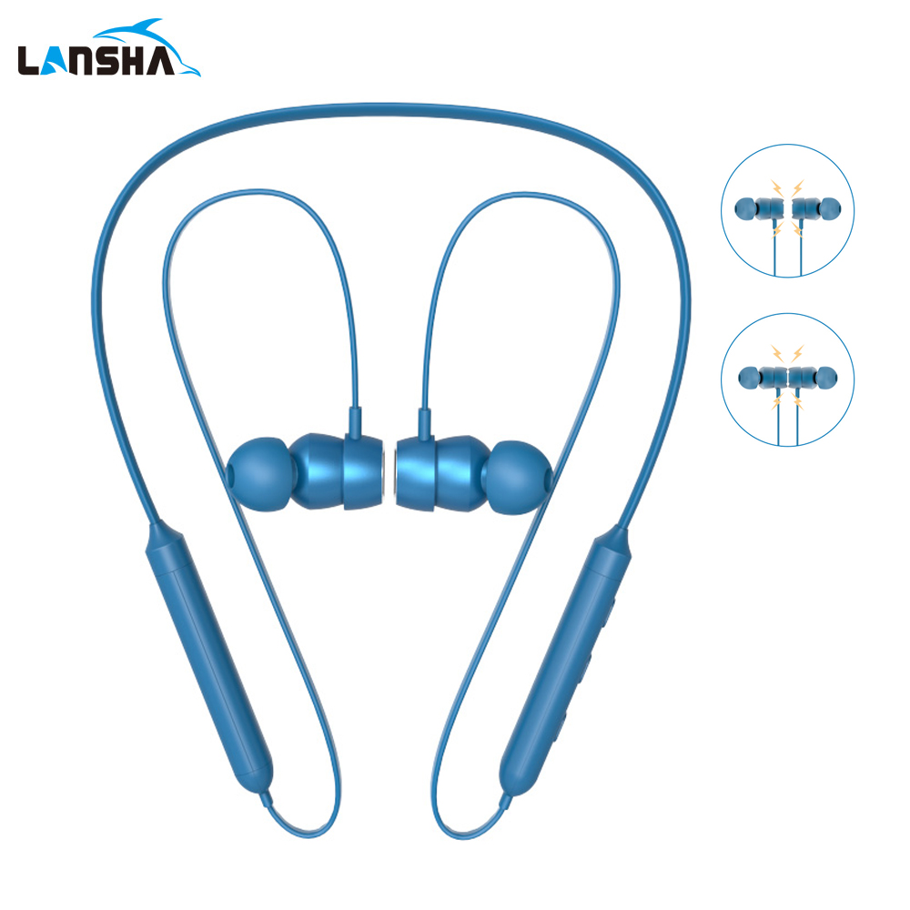 LANSHA Bluetooth Headset Neckband Sport Handsfree Magnetic Wireless In-Ear Headphone with Mic HD Stereo For Iphone Android Phone wireless neckband style earphone sport bluetooth in ear headphone stereo headest with mic for iphone samsung htc lg sony earbuds