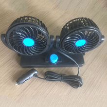 Dewtreetali Electric Car Fan Low Noise Summer Car Air Conditioner 360 Degree Rotating 2 Gears Adjustable Car Fan Air Cooling