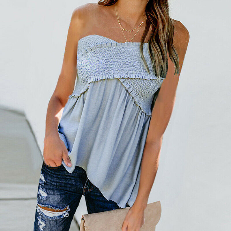New Women Strapless Boob Tube Blouse Ladies Casual 2019 Fashion Bandeau Floral Summer Beach Holiday Vest   Tank     Tops