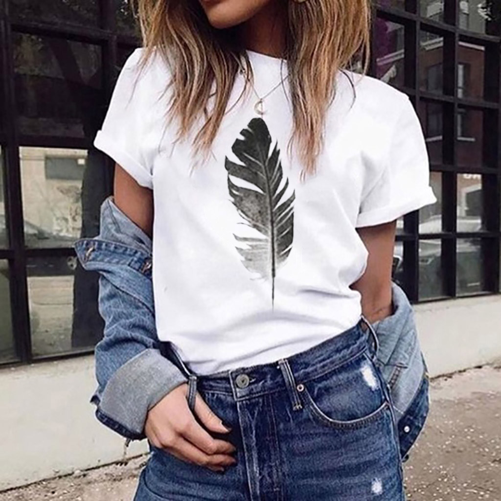 Fashion   Blouse     Shirt   Women's Loose Short-Sleeved Leaf Print Casual O-Neck Top Summer Short Sleeve New Female Women Clothing