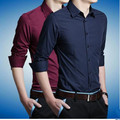 2015 New England style solid business casual shirt Korean Slim solid young men long-sleeved shirt free shipping