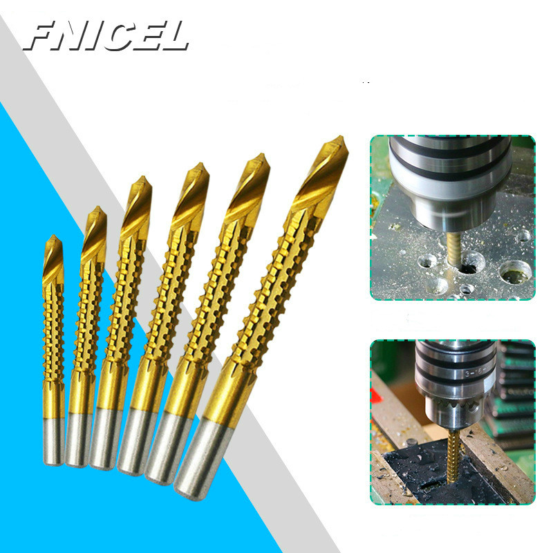 6pcs/Set 3-8mm Titanium Coated HSS Drill Bit Electric Drill Plastic Metal Hole Grooving Drill Saw Carpenter Woodworking Tools
