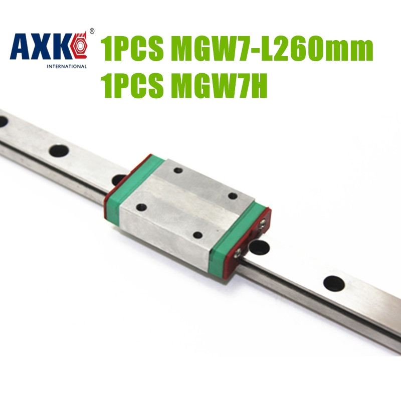 2017 Special Offer New Arrival Steel Nickel Ball Bearing Rodamientos Axk Cnc Linear Guide Mgw7- L 260mm + Mgw7h Block Made In