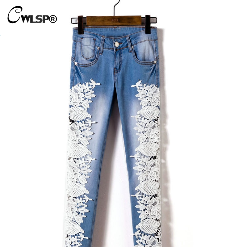 Әйелдер Fashion Side Lace Jeans Hollow Out Skinny Denim Jeans - Әйелдер киімі - фото 5