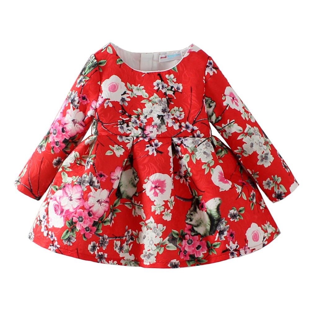 Mudkingdom Kids Little Girl Flower Fall Fashion Peach Blossom Print Dress Girls Festival Wedding Dresses Birthday Christmas Gift