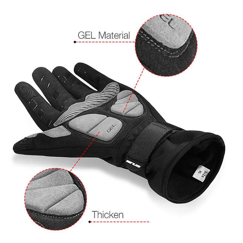 GUB зимние теплые перчатки для катания на велосипеде светоотражающий противоударный MTB дорожные велосипедные перчатки ветрозащитные сенсорный экран полный палец перчатки