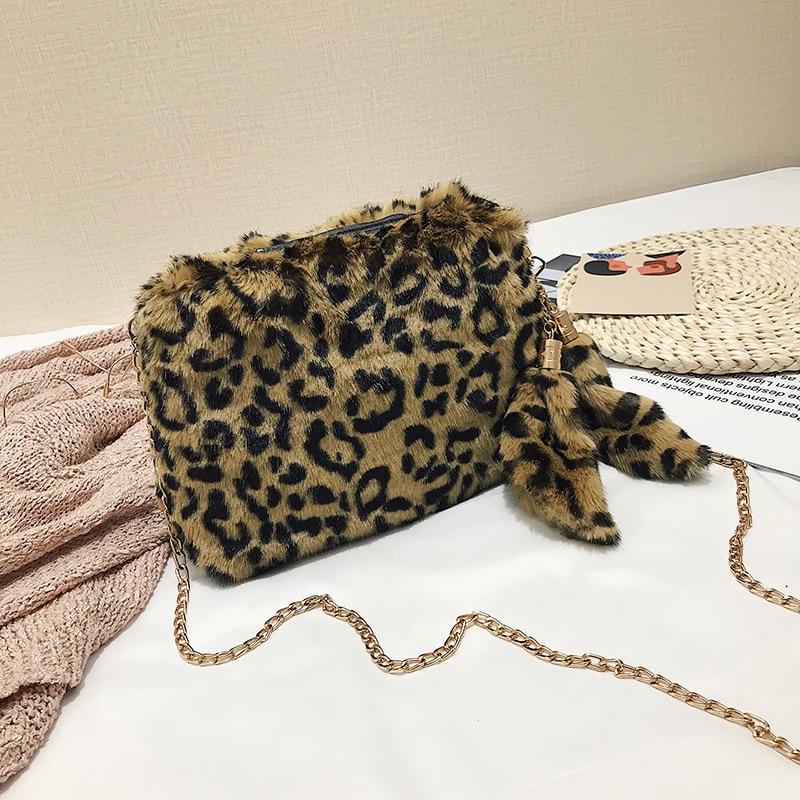 Women Leopard Plush Square Chain Cross body Handbag