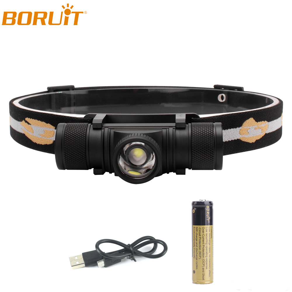BORUiT XP-G2 LED Headlamp Zoomable Flashlight USB Rechargeable Lantern Waterproof Camping Hunting Head Torch Light 18650 Battery