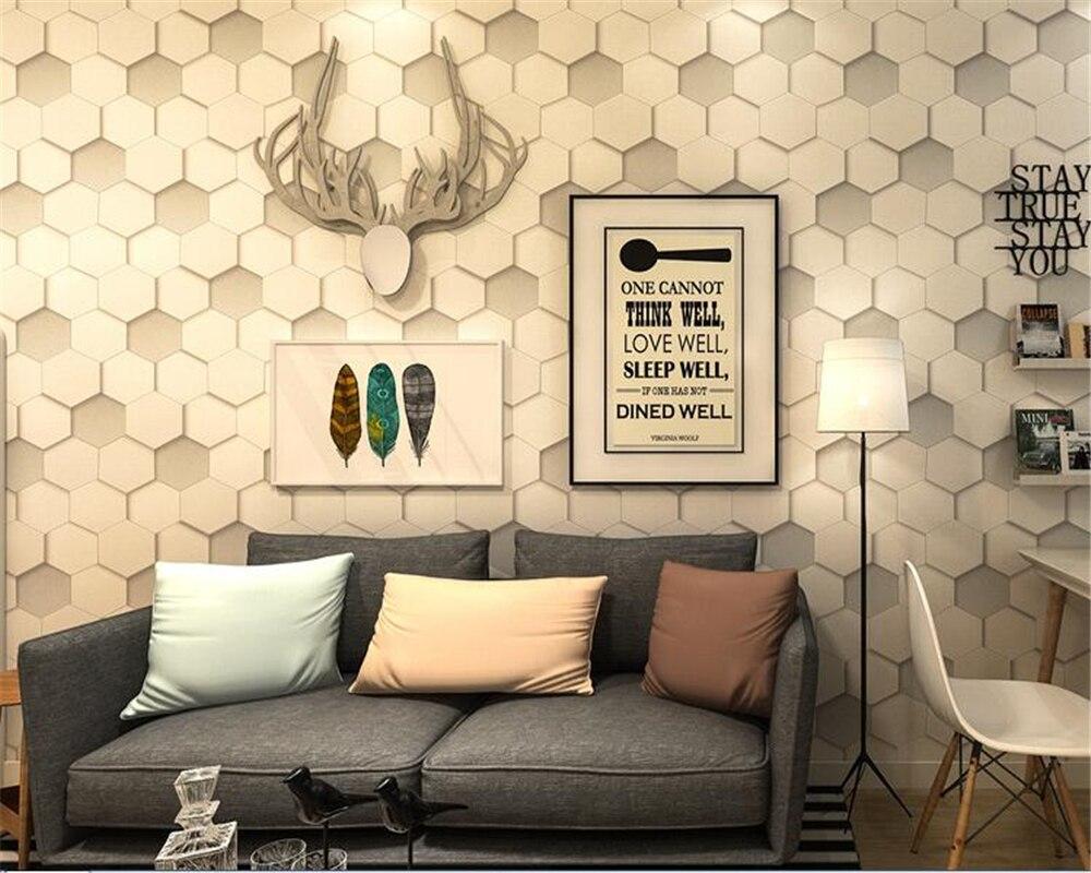 Beibehang MuralNordic 3D Abstract Geometric Hexagon Textured Fine Honeycomb Pattern Wallpaper Roll Bar Cafe Background Wallpaper