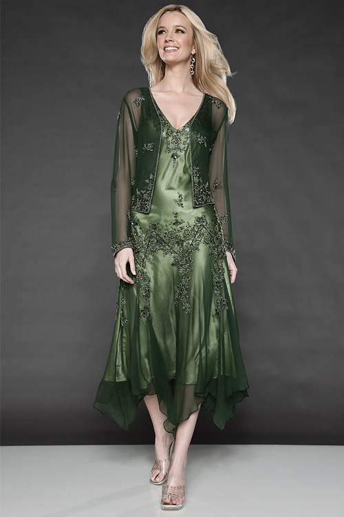 Evening dress emerald green mother