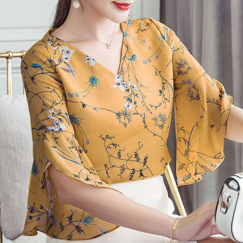 RibbonFish Women Summer Style Flower Printed   Blouses     Shirts   Lady Casual Short Flare Sleeve Bow Tie V-Neck Blusas DD1504