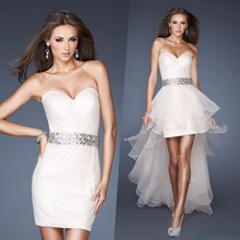 Sexy white crystal sweetheart short prom Dresses with detachable train 2015 new Design Evening party Gown vestidos para festa 2015 new sweetheart long bridesmaid dresses for weddings womans chiffon sexy evening party gown vestidos para festa madrinha