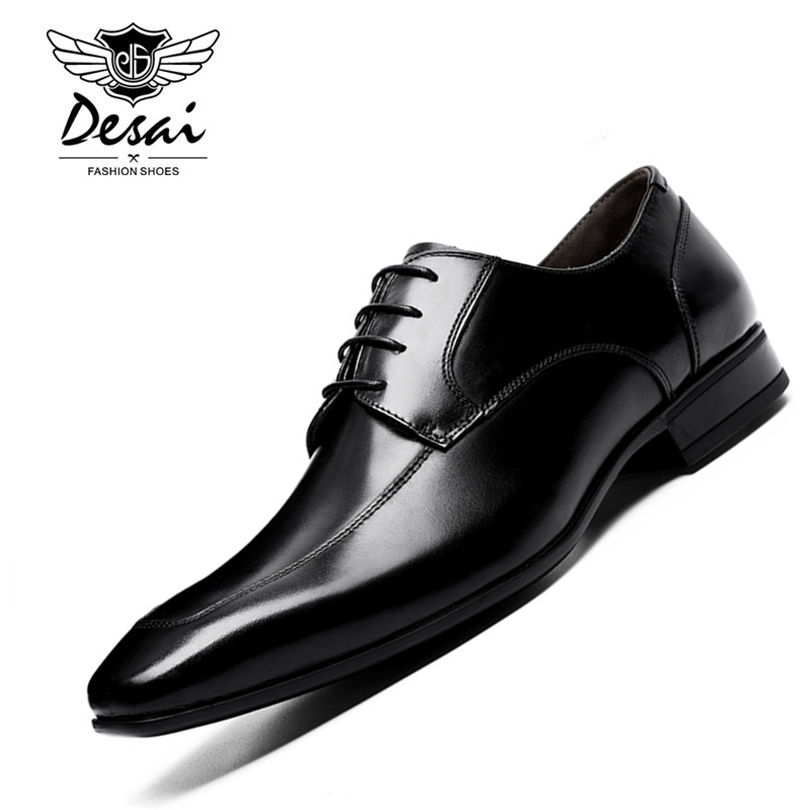 DESAI Brand Leather Men Shoes Pointed Toe Black Oxford Shoes For Men Business Lace Up Dress Shoes Genuine Leather Footwear 2017 new oxford for men dress genuine leather black red office zapatos lace up pointed toe the trend of black leather shoes