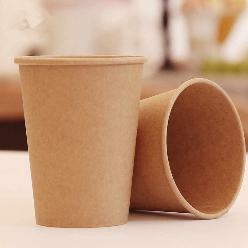 100pcs/pack Kraft Paper Cup Disposable Paper Cup Coffee Milk Hot Drink Paper Cup Household Coffee Shop Supplies