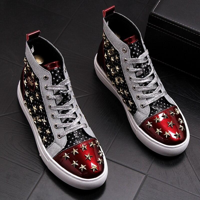 Stephoes الرجال الأزياء السببية حذاء من الجلد الربيع الخريف سحر مختلط الألوان ستار المسامير أحذية عالية أعلى الترفيه الشرير نمط رياضة على  مجموعة 1