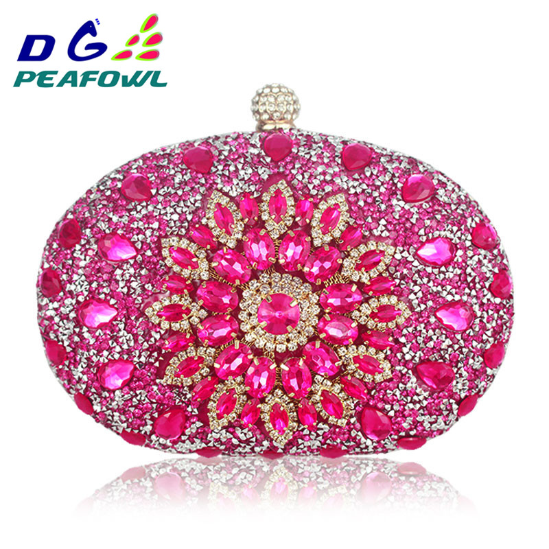 Luxury Clutch Chain Bag Woman Wedding Diamond Crystal Floral Blue Red Sling Designer Purse Cell Phone Pocket Wallet Handbags(China)